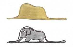 ゾウをこなしているウワバミ